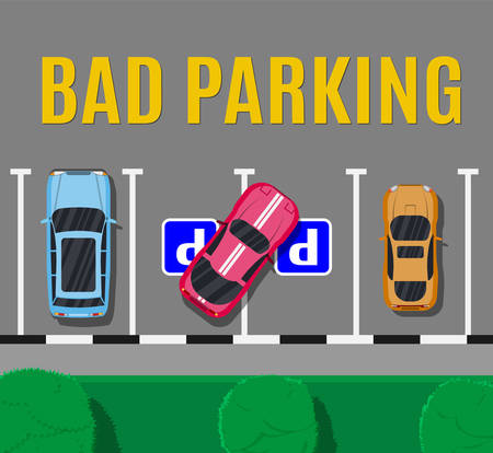 City parking lot with different cars. Shortage parking spaces. Parking zone top view with vehicles. Bad or wrong car parking. Traffic regulations. Rules of the road. Vector illustration in flat style Illustration
