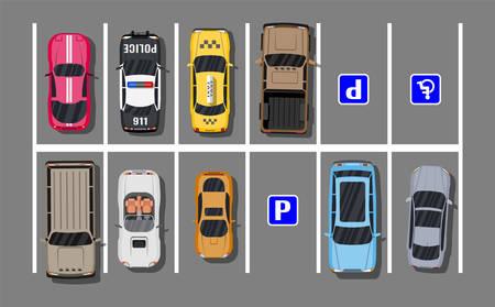 Estacionamiento de la ciudad con diferentes coches