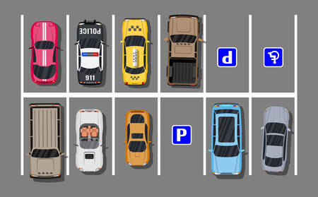 City parking lot with different cars