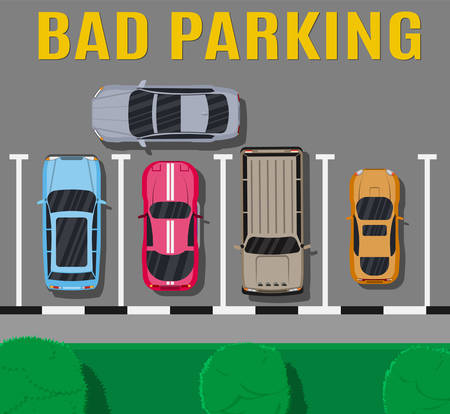 city background: Bad or wrong car parking.
