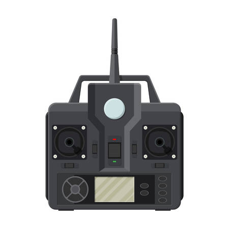 monitor: Remote controller for car, drone, fly and other devices and toys. Remote control panel with display and sticks. Vector illustration in flat style Illustration