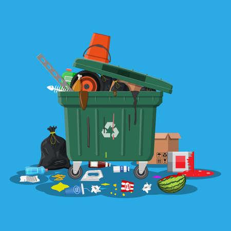 Poubelle en plastique pleine de déchets. Débordement de déchets, de nourriture, de fruits pourris, de papiers, de contenants et de verre. Matériel de recyclage et d'utilisation des ordures. Gestion des déchets Illustration vectorielle dans un style plat Vecteurs