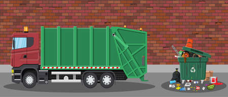 segregation: Truck for assembling and transportation garbage. Car waste disposal. Can container, bag and bucket for garbage. Recycling and utilization equipment. Street. Vector illustration in flat style Illustration