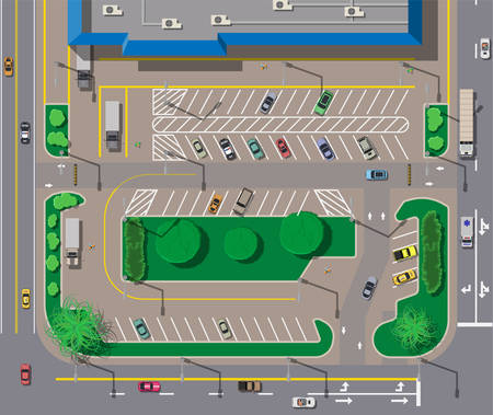 car isolated: Big shopping center or mall and parking for cars. City parking lot with different cars. Tree area. Parking zone top view with various vehicles. City life. Vector illustration in flat style Illustration