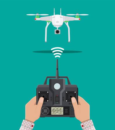 Un drone aérien télécommandé. Quadcopter drone avec appareil photo pour la photographie ou la vidéo. Aéronef contemporain sans pilote. Panneau de commande à distance avec affichage et bâtons. Illustration vectorielle en style plat Banque d'images - 85980644