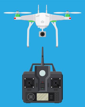 Un drone aérien télécommandé. Quadcopter drone avec appareil photo pour la photographie ou la vidéo. Aéronef contemporain sans pilote. Panneau de commande à distance avec affichage et bâtons. Illustration vectorielle en style plat Banque d'images - 85980645