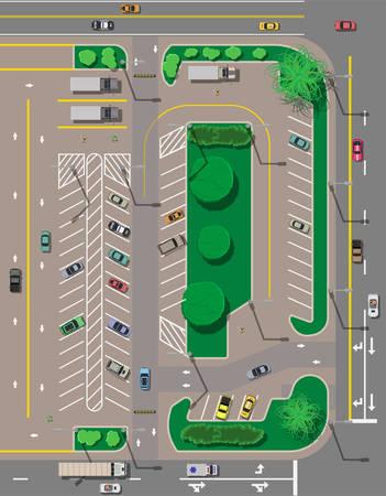 Stadsparkeerterrein met verschillende auto's. Tekort parkeerplaatsen. Parkeerzone bovenaanzicht met verschillende voertuigen. Sedan, roadster, suv, sportwagen, pick-up. Vervoer. Vectorillustratie in vlakke stijl Stock Illustratie