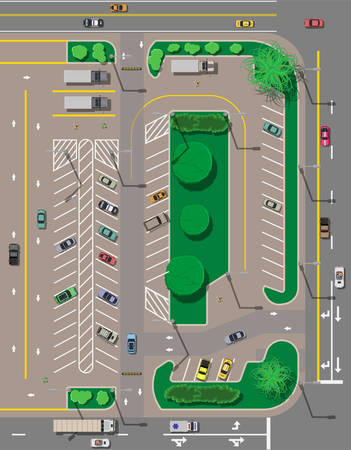 City parking lot with different cars. Shortage parking spaces. Parking zone top view with various vehicles. Sedan, roadster, suv, sport car, pickup. Transport. Vector illustration in flat style