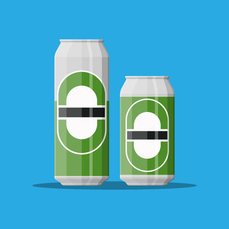 Can of beer in large and small size. Beer alcohol drink. Vector illustration in flat style Vector Illustration