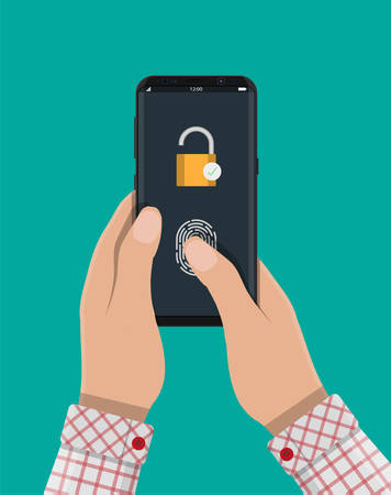 mobile device: Locked smartphone with padlock and fingerprint button. Security, access via finger on mobile phone, user authorization, recognition of owner, login, protection. Vector illustration in flat style