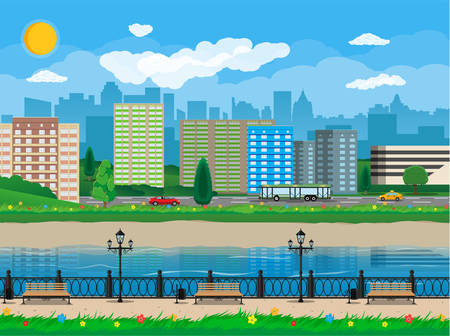 residental: City view. Cityscape. Bench, lamp. Residental buildings. Road, truck, cars. Public transportation system. Waterfront, river embankment Clouds sky and sun Vector illustration in flat style Illustration