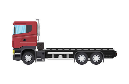 Cargo delivery truck with platform for container. Shipping and delivery of goods. Car for transport. Trailer vehicle. Vector illustration in flat style