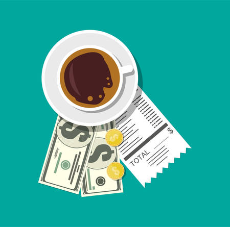 Cup with coffee, cash and coins, cashier check Illustration