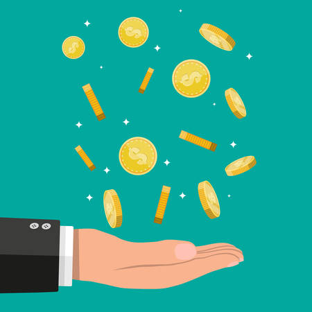 Buisnessman hand catching falling gold coins Illustration