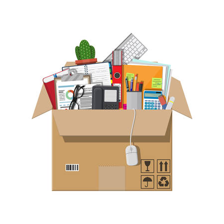 Moving to new office. Cardboard box with folder, document paper, contract, calculator, pen and pencils, eyeglasses, book, ring binder, phone. Keyboard, mouse cactus illustration in flat style