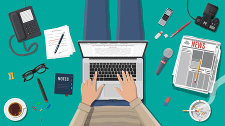 Freelance writer or journalist workplace. Laptop pc, newspaper. Paper sheets with text, pen. Ashtray, cigarette, coffee. Eyeglasses, phone, microphone, photo camera. Vector illustration in flat style