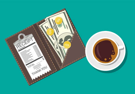 Folder with cash coins and cashier check. Coffee cup. Thanks for the service in the restaurant. Money for servicing. Good feedback about the waiter. Gratuity concept. Vector illustration in flat style
