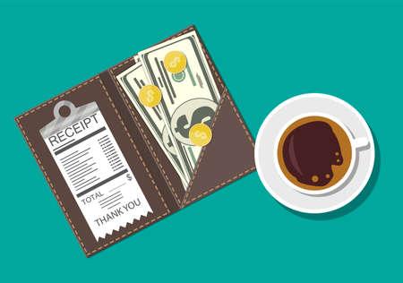 Ordner mit Bargeld und Kassierer überprüfen. Kaffeetasse. Danke für den Service im Restaurant. Geld für die Wartung. Gutes Feedback über den Kellner. Trinkgeld-Konzept. Vector Illustration im flachen Stil