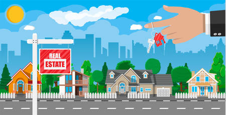 Real estate placard sign. Hand of agent with keys. Background with private suburban house, trees, sun, road, sky and clouds. Real estate, sale and rent house. Vector illustration in flat style