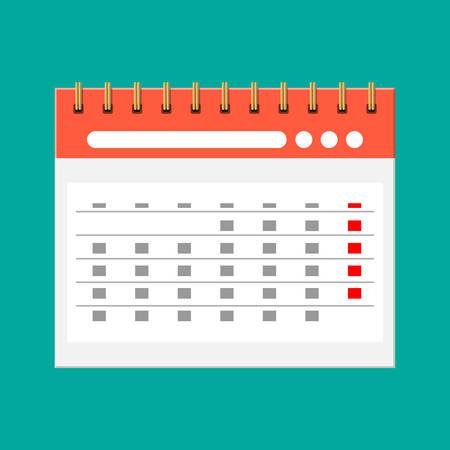 Paper spiral wall calendar. Calendar flat icon. Illustration