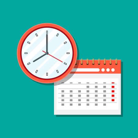 Paper spiral wall calendar and clocks.