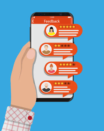 Hand houdt smartphone met rating app.