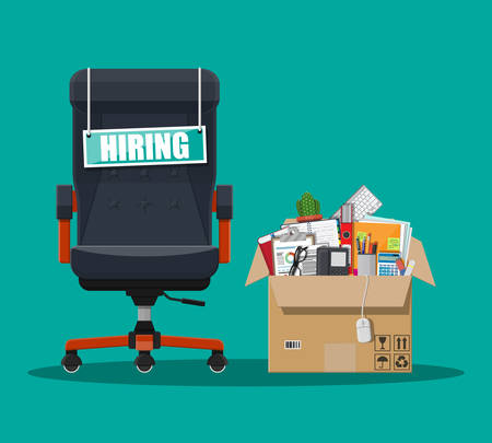 unoccupied: Office chair, sign vacancy. Box with office goods. Hiring and recruiting. Human resources management concept, searching professional staff, work. Found right resume. Vector illustration in flat style