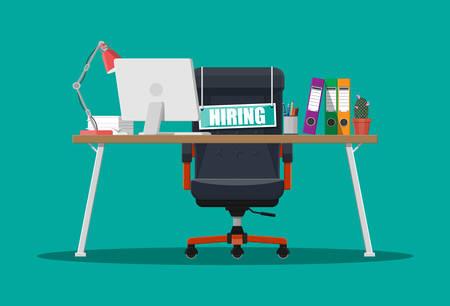 オフィスの椅子、空のサイン。オフィス アイテムのテーブル。採用と募集します。人材管理概念検索の専門スタッフの仕事します。右の履歴書を発