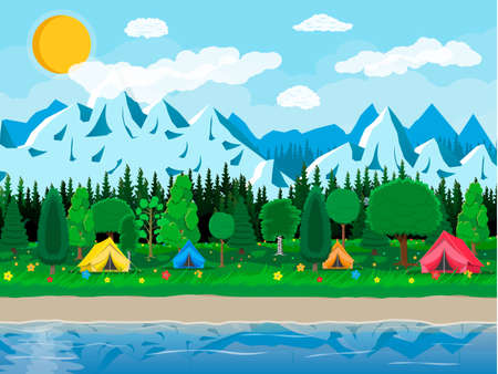 Meadow with grass and camping, lake
