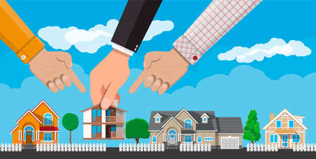 Hand picks a house. Suburban village, trees, road, sky and clouds. Real estate, sale and rent house, mansion. Vector illustration in flat style
