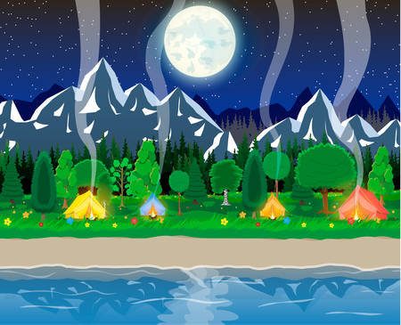Meadow with grass and camping in night Ilustração