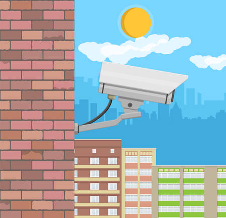 Security camera on wall Illustration