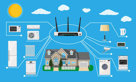 Smart home concept. Smart household appliances connected to home network. Remote controlled devices in house. Smart house. Vector illustration in flat style Illustration