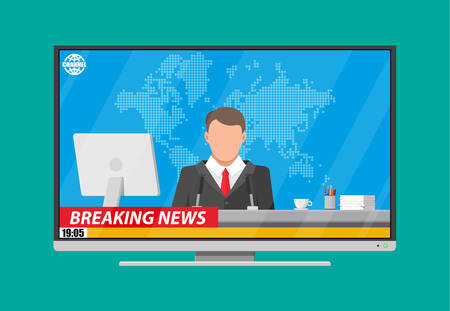 journalism: Modern flat screen tv with news, desktop pc, coffee, world map. News announcer in the studio. Journalism, live report, breaking hot news, television and radio casts. Vector illustration in flat style