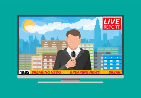 journalism: Modern flat screen tv with news. Cityscape with buildings, clouds, sky, sun. Journalism, live report, breaking hot news, television and radio casts concept. Vector illustration in flat style