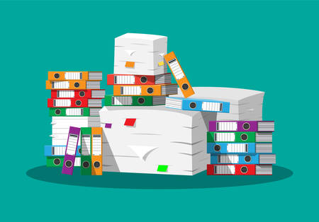 Pile of paper documents and file folders. Illustration