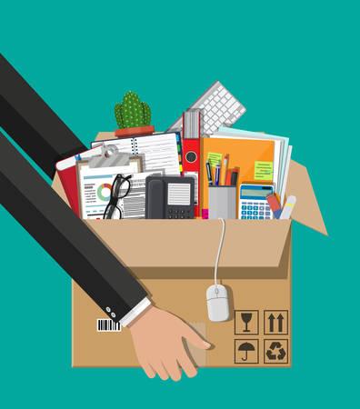 Cardboard box in hand with folder