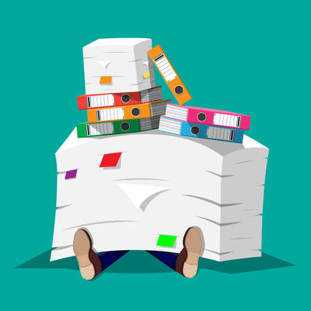 Stressed businessman under pile of office papers and documents. Stress at work. Overworked. File folders. Carton boxes. Bureaucracy, paperwork. Vector illustration in flat style