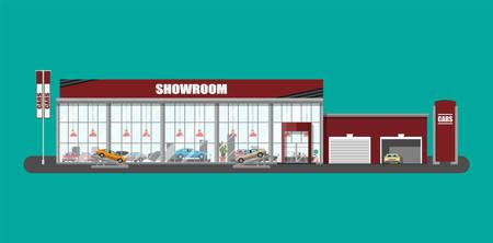 전시관, 쇼룸 또는 대리점. 자동차 쇼 룸 건물. 자동차 센터 또는 상점. 자동 서비스 및 쇼핑. 플랫 스타일의 벡터 일러스트 레이션