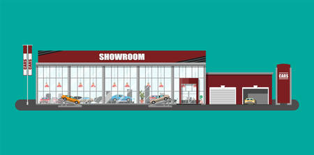 Exhibition pavilion, showroom or dealership. Car showroom building. Car center or store. Auto service and shop. Vector illustration in flat style Vectores