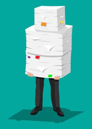 Betonter Geschäftsmann hält Stapel von Büropapieren und -dokumenten. Stress bei der Arbeit. Überarbeitet. Dateiordner. Kartons. Bürokratie, Papierkram. Vektor-Illustration in flachen Stil