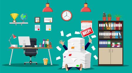 オフィス書類の山で実業家