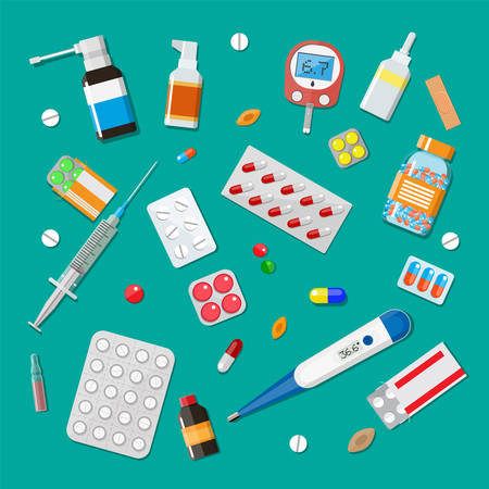 Medicine pills capsules and bottles and healthcare devices. Tablets in flat style. Medical icons set. Vector illustration