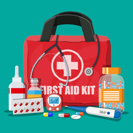 Medical first aid kit with different pills Stock fotó - 87994102
