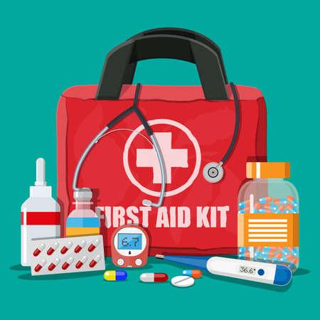 Medische noodhulp kit met verschillende pillen Stock Illustratie