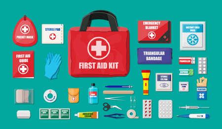 Eerste hulp kit met medische apparatuur en medicijnen Stock Illustratie