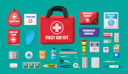 First aid kit with medical equipment and medications