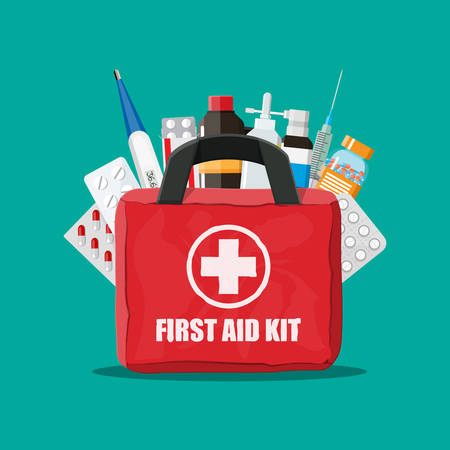 Medical first aid kit with pills and thermometer and more in colorful illustration