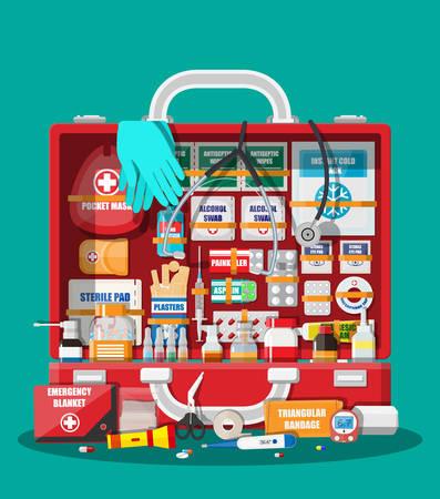 Erste-Hilfe-Set mit medizinischen Geräten. Standard-Bild - 88058956