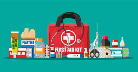 Medical first aid kit with pills and devices Stock Photo
